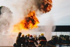 Treinamento do sapador-bombeiro Fotografia de Stock