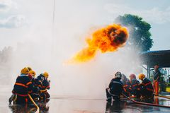 Treinamento do sapador-bombeiro Fotografia de Stock Royalty Free