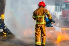 Treinamento do sapador-bombeiro Imagens de Stock