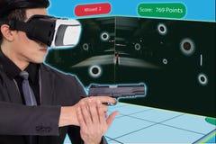 Treinamento esperto com o engodo da tecnologia da realidade aumentada e virtual Fotografia de Stock