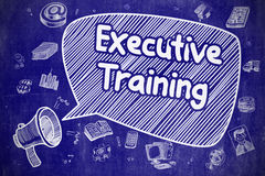 Treinamento executivo - ilustração da garatuja no quadro azul ilustração stock