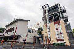 Treinamento japonês do sapador-bombeiro Imagens de Stock Royalty Free