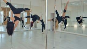 Treinamento magro 'sexy' da dança do polo da equipe de cinco mulheres no salão de dança Imagens de Stock
