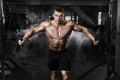 Treinamento muscular do halterofilista do atleta no simulador no gym fotos de stock