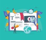 Treinamento profissional do conceito, educação, curso video para o página da web, bandeira, apresentação, meio social, documentos ilustração stock