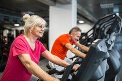 Treinamento superior feliz da senhora na bicicleta da rotação no gym fotos de stock royalty free