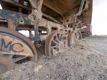 Treinbegraafplaats in Boliviaanse Uyuni, Stock Foto's