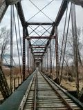 Treinbrug over de rivier van Missouri Royalty-vrije Stock Fotografie