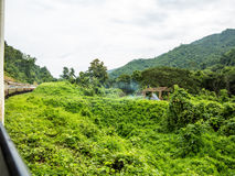 Treine atravessar os campos verdes em Chiang Mai Imagem de Stock