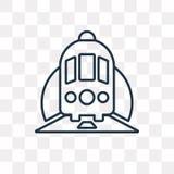 Treine em um ícone do vetor do túnel isolado no fundo transparente ilustração stock
