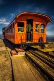 Treine na montagem Washington Cog Railway, na montagem Washington mim fotografia de stock royalty free
