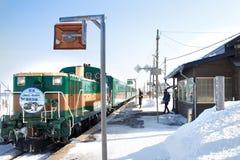 Treine no Hokkaido, Japão em fevereiro, 1, 2013, um dia da neve Fotos de Stock Royalty Free
