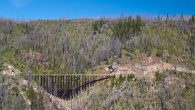 Treine o cavalete na estrada de ferro do vale da chaleira perto de Kelowna, Canadá foto de stock