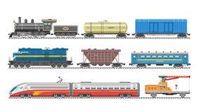 Treine o grupo da ilustração do transporte da locomotiva ou do vagão e do metro ou do metro do transporte railway do vetor de tra Imagem de Stock