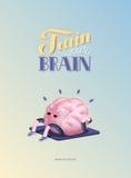Treine seu cartaz do cérebro com rotulação, corpo acima Foto de Stock Royalty Free