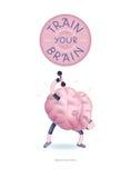 Treine seu cartaz do cérebro com rotulação, exercícios dos pesos Foto de Stock