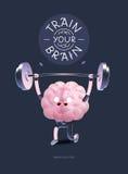 Treine seu cartaz do cérebro com rotulação, halterofilismo Imagem de Stock Royalty Free