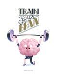 Treine seu cartaz do cérebro com rotulação, halterofilismo Imagem de Stock