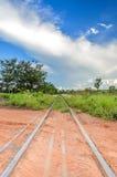 Treine a trilha que passa pela estrada de terra que vai à grama Fotografia de Stock