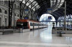 Treinen bij de spoorwegpost royalty-vrije stock foto