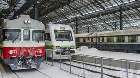Treinen bij de winter Royalty-vrije Stock Afbeelding