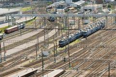 Treinen in de raiway post van Moskou Stock Afbeeldingen
