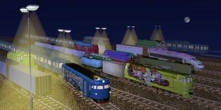 Treinen die bij nacht parkeren Stock Afbeelding