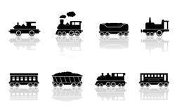 Treinen en geplaatste spoorwegwagens Royalty-vrije Stock Foto's