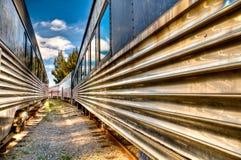 Treinen in spoorweg Royalty-vrije Stock Foto's