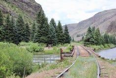 Treinsporen die de bergen doornemen Royalty-vrije Stock Foto's