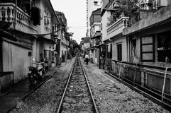 Treinsporen door Hanoi - Vietnam Royalty-vrije Stock Fotografie