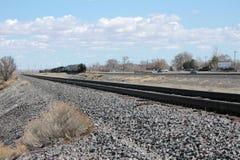 Treinsporen en een trein Stock Fotografie