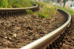 Treinsporen met rotsen Stock Foto
