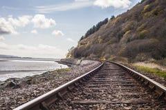 Treinsporen in platteland Stock Foto