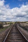 Treinsporen in platteland Royalty-vrije Stock Afbeelding