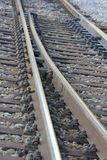 Treinsporen - sluit omhoog stock afbeeldingen