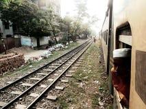 Treinsporen wanneer de trein loopt Royalty-vrije Stock Foto's