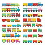 Treinstuk speelgoed geplaatste kinderenpictogrammen, vlakke stijl royalty-vrije illustratie