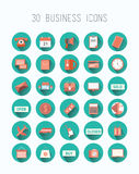 Treinta iconos del negocio en azul Imagen de archivo
