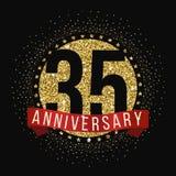 Treinta y cinco años del aniversario de logotipo de la celebración 35to logotipo del aniversario Imágenes de archivo libres de regalías
