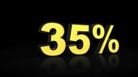 Treinta y cinco representaciones del por ciento 3D del 35% Fotografía de archivo libre de regalías