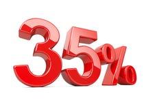 Treinta y cinco símbolos rojos del cinco por ciento porcentaje del 35% Specia Imágenes de archivo libres de regalías