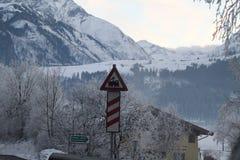 Treinteken op een Sneeuwberg Royalty-vrije Stock Foto