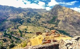 Inca village ruins in  Peruvian Andes. During a trek in Andes mountains in Peru, you can see small Inca village ruins along the road Stock Photography