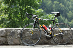 Trek bicycle. Beost,France,July 15th 2011: Image of a Trek race bicycle parked on the roadside.Trek is a major manufacturer of high perfomance bicycles.This Stock Images