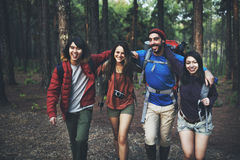 Trek Camping Friendship Adventure Backpack Concept Royalty Free Stock Images