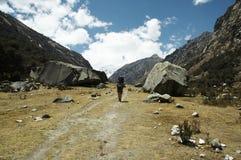 Trek in the Cordillera Blanca mountain Stock Images