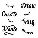 Trek, creeer, zing, dans het van letters voorzien vector illustratie