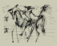 Trek Don Quichot aan Royalty-vrije Stock Foto's