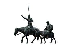 Trek Don Quichot en Sancho Panza aan Stock Foto's